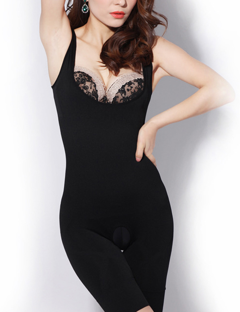 Black Open Crotch Body Shapewear Solid Color Insta..