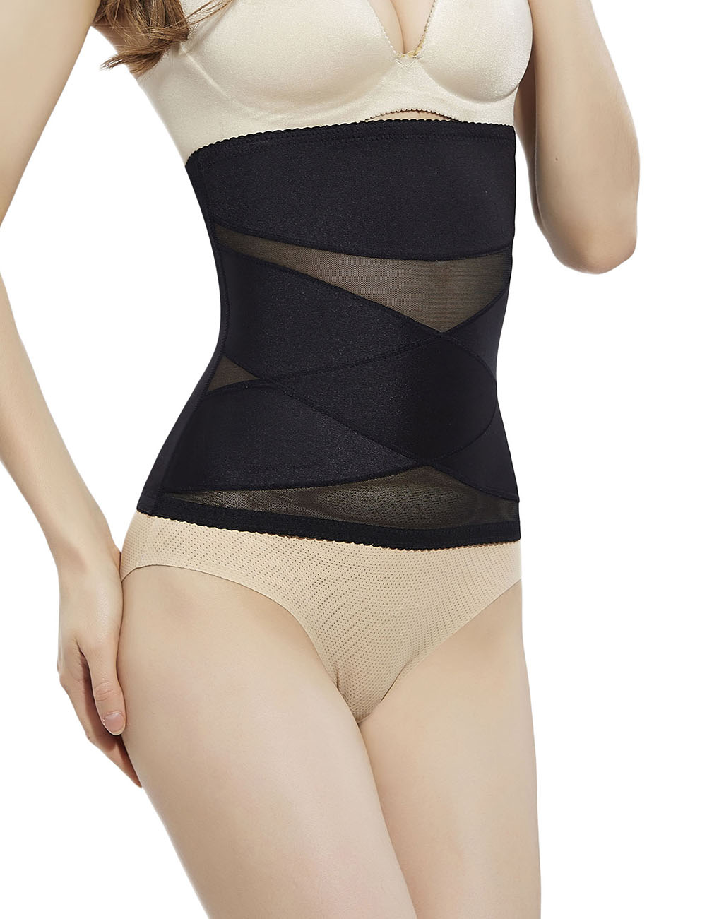 Slimmer Black Prevent Curling 2 Steel Bones Waist ..